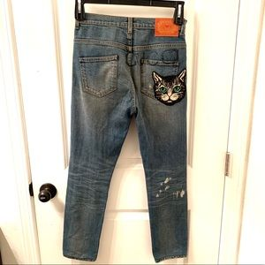 Gucci Cat Embroidered Denim Skinny Jeans
